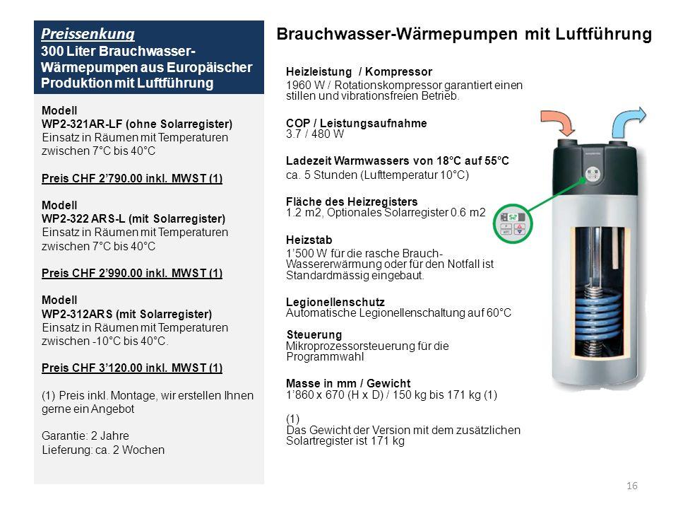 Preissenkung 300 Liter Brauchwasser- Wärmepumpen aus Europäischer Produktion mit Luftführung Brauchwasser-Wärmepumpen mit Luftführung Heizleistung / K