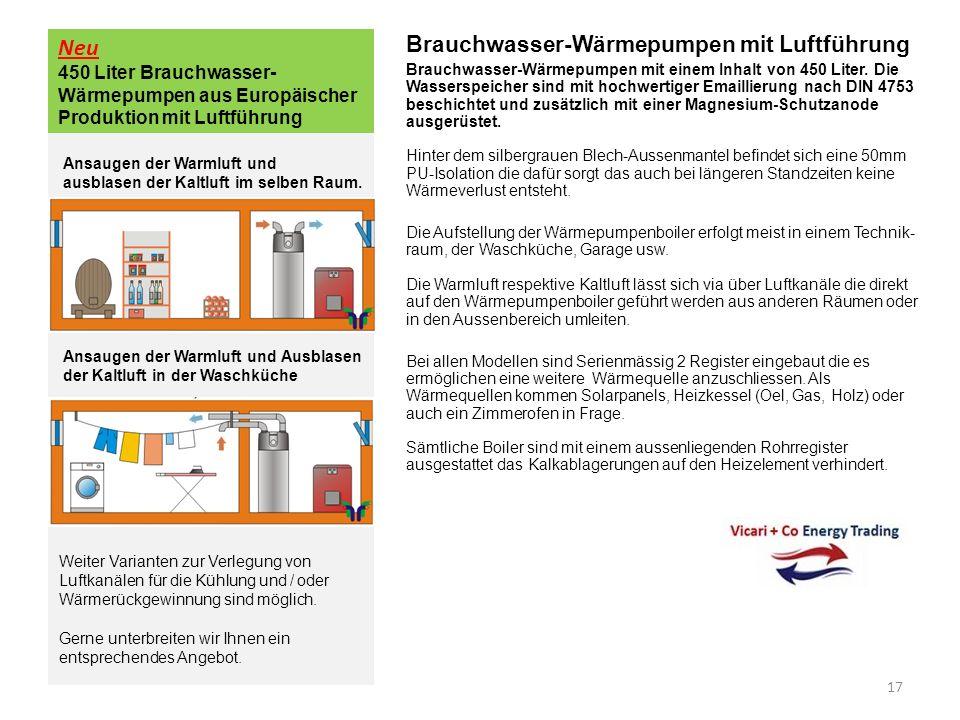 Neu 450 Liter Brauchwasser- Wärmepumpen aus Europäischer Produktion mit Luftführung Brauchwasser-Wärmepumpen mit Luftführung Brauchwasser-Wärmepumpen