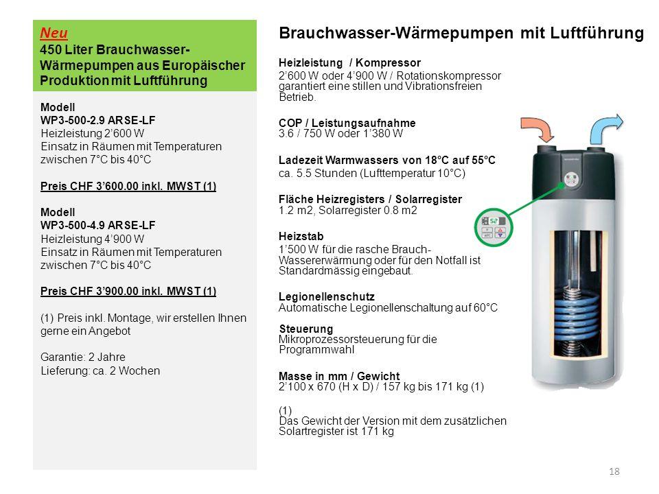 Neu 450 Liter Brauchwasser- Wärmepumpen aus Europäischer Produktion mit Luftführung Brauchwasser-Wärmepumpen mit Luftführung Heizleistung / Kompressor