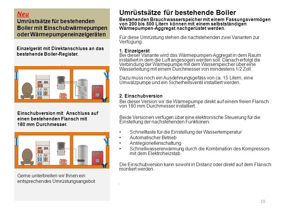 Neu Umrüstsätze für bestehenden Boiler mit Einschubwärmepumpen oder Wärmepumpeneinzelgeräten Umrüstsätze für bestehende Boiler Bestehenden Brauchwasse