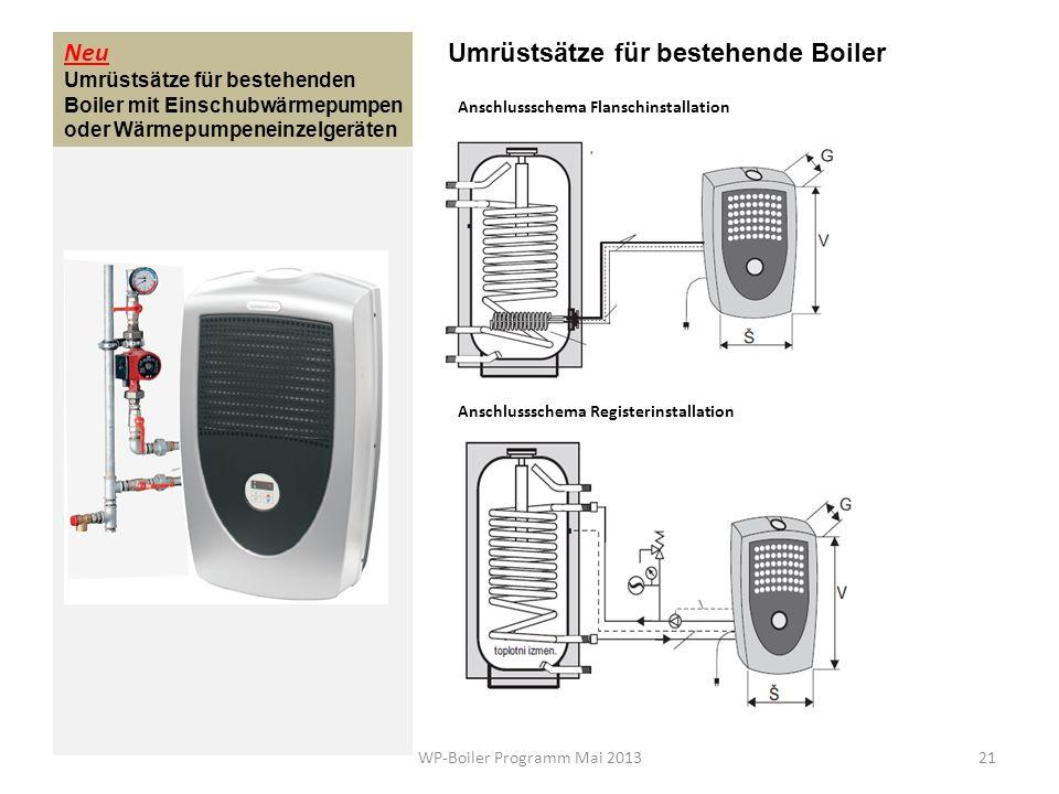 Neu Umrüstsätze für bestehenden Boiler mit Einschubwärmepumpen oder Wärmepumpeneinzelgeräten Umrüstsätze für bestehende Boiler Anschlussschema Flansch