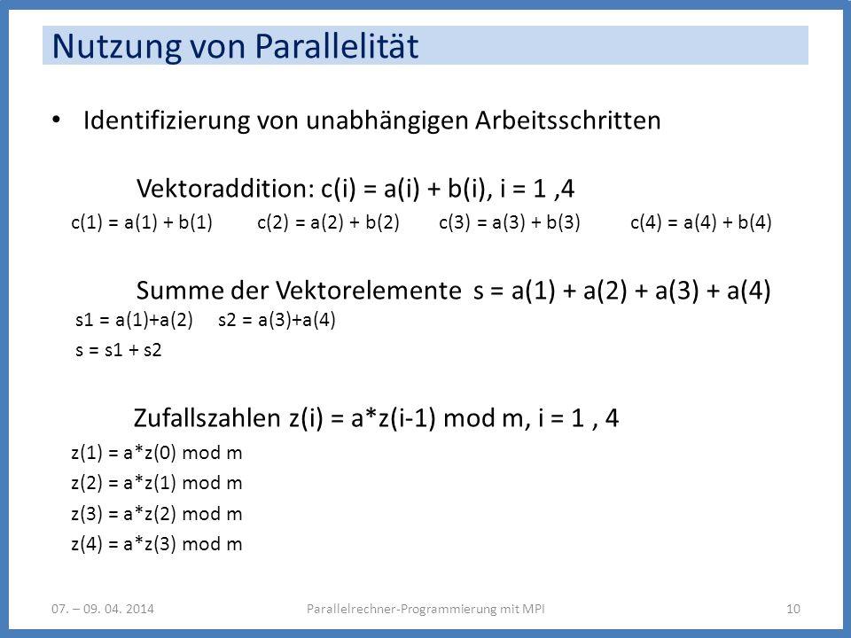 Nutzung von Parallelität Identifizierung von unabhängigen Arbeitsschritten Vektoraddition: c(i) = a(i) + b(i), i = 1,4 c(1) = a(1) + b(1) c(2) = a(2)