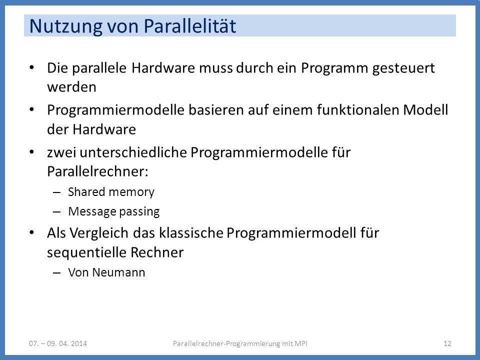 Nutzung von Parallelität Die parallele Hardware muss durch ein Programm gesteuert werden Programmiermodelle basieren auf einem funktionalen Modell der