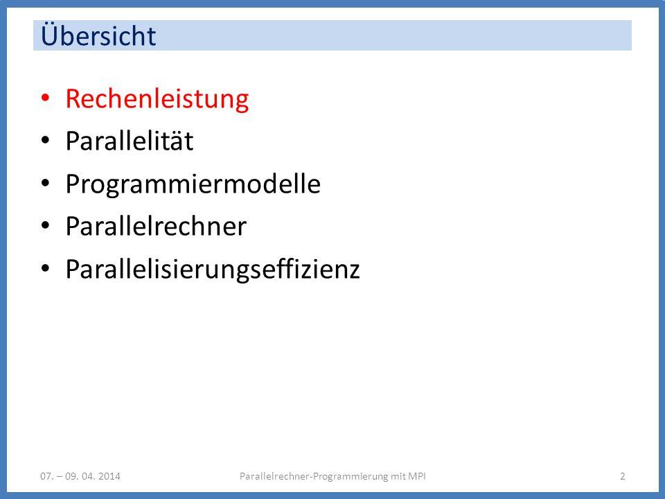 Programmiermodell: Sequentiell (von Neumann) Parallelrechner-Programmierung mit MPI13 Instruktionen Daten Programmzähler Speicher Verarbeitungseinheit (CPU) InstruktionseinheitRecheneinheit Objekte: Daten, Instruktionen, PZ Operationen: opcode op1, op2,...,re1,re2 Reihenfolge: sequentiell 07.