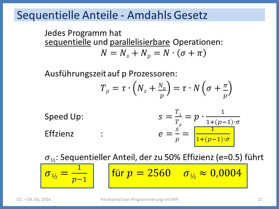 Sequentielle Anteile - Amdahls Gesetz 07. – 09. 04. 2014Parallelrechner-Programmierung mit MPI27