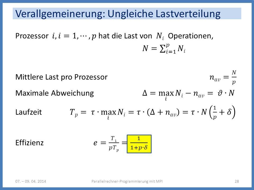 Verallgemeinerung: Ungleiche Lastverteilung 07. – 09. 04. 2014Parallelrechner-Programmierung mit MPI28