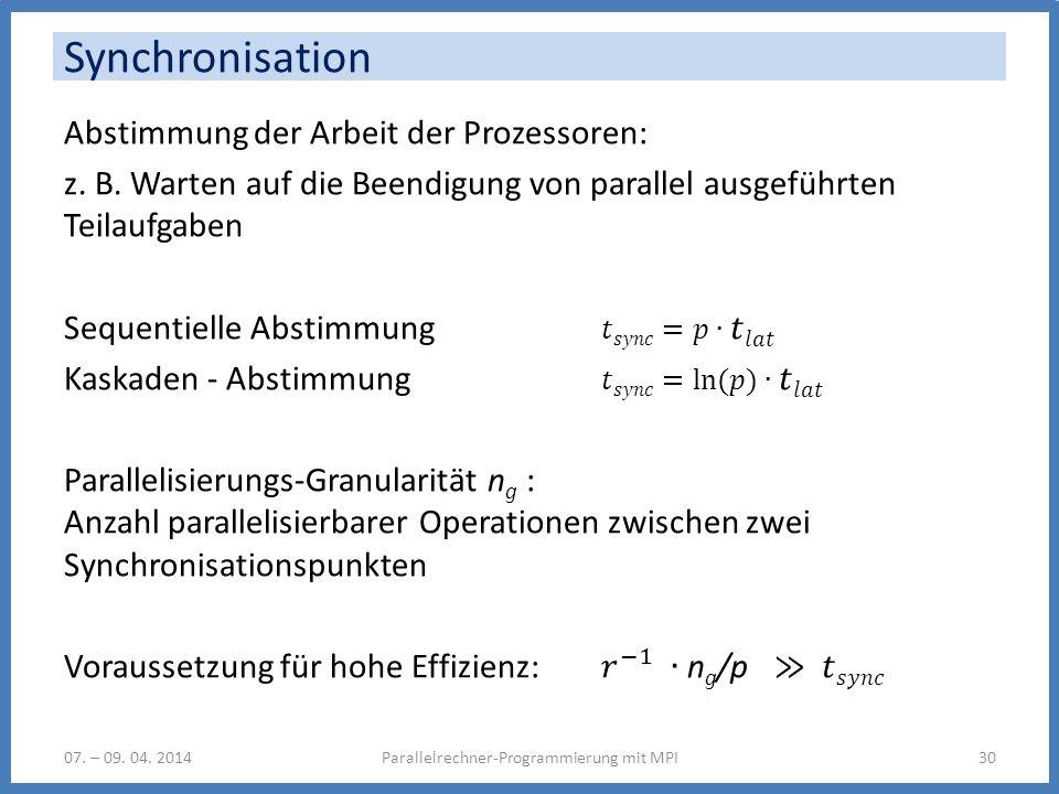 Synchronisation 07. – 09. 04. 2014Parallelrechner-Programmierung mit MPI30