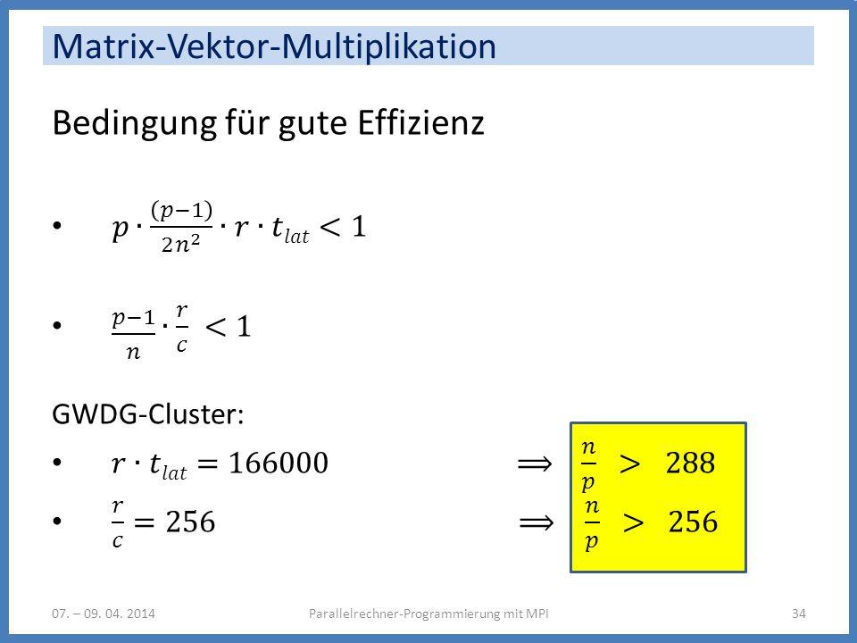 Matrix-Vektor-Multiplikation 07. – 09. 04. 2014Parallelrechner-Programmierung mit MPI34