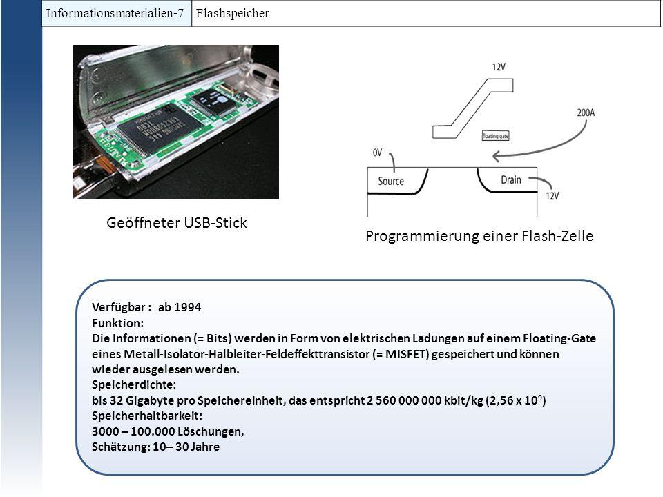 Informationsmaterialien-7 Flashspeicher Verfügbar : ab 1994 Funktion: Die Informationen (= Bits) werden in Form von elektrischen Ladungen auf einem Fl