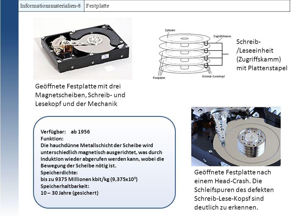 Informationsmaterialien-8 Festplatte Verfügbar: ab 1956 Funktion: Die hauchdünne Metallschicht der Scheibe wird unterschiedlich magnetisch ausgerichte