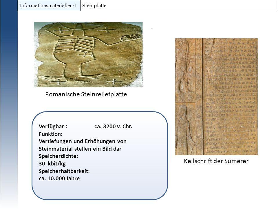 Informationsmaterialien-1 Steinplatte Verfügbar : ca. 3200 v. Chr. Funktion: Vertiefungen und Erhöhungen von Steinmaterial stellen ein Bild dar Speich