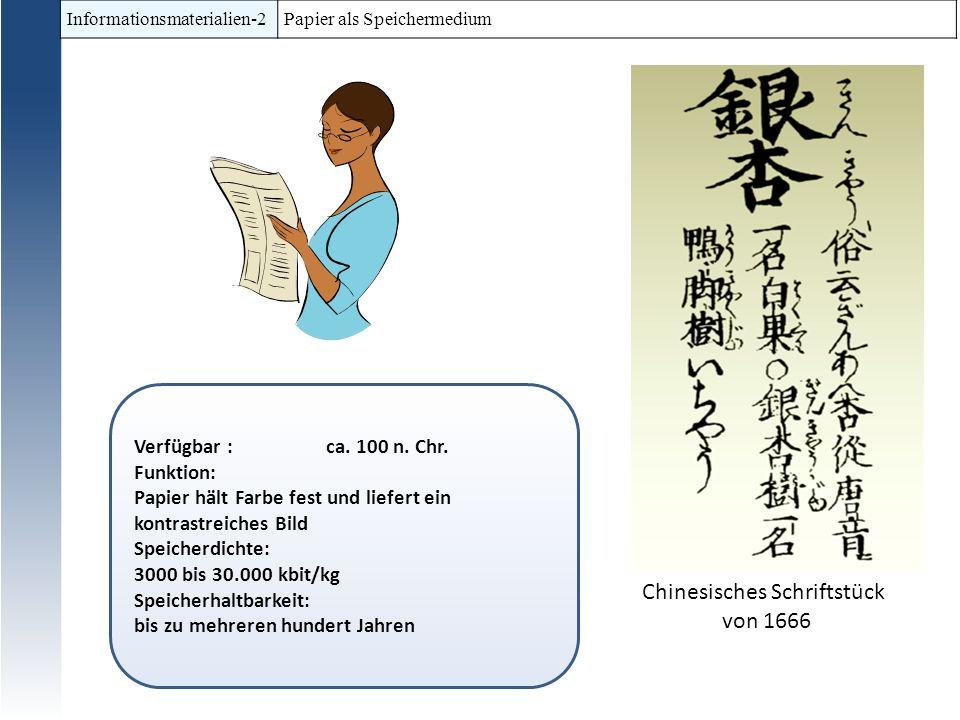 Informationsmaterialien-2 Papier als Speichermedium Verfügbar : ca. 100 n. Chr. Funktion: Papier hält Farbe fest und liefert ein kontrastreiches Bild