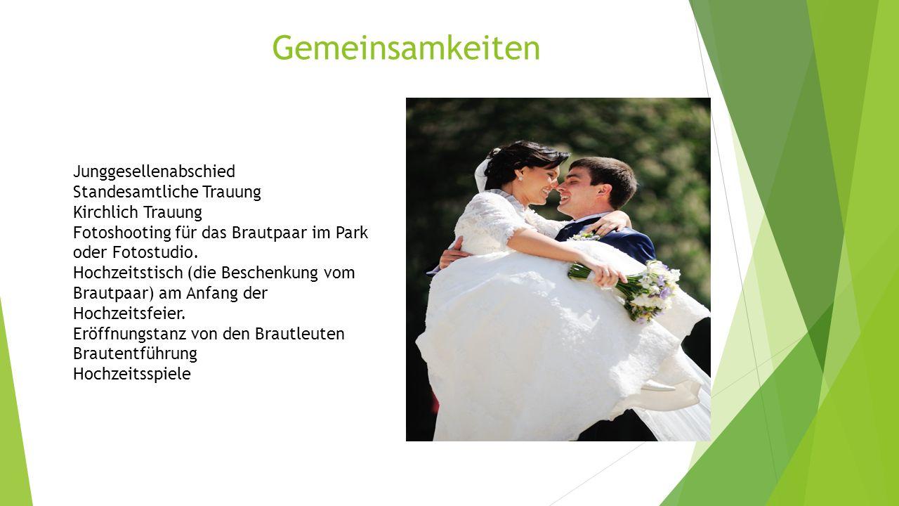 Gemeinsamkeiten Junggesellenabschied Standesamtliche Trauung Kirchlich Trauung Fotoshooting für das Brautpaar im Park oder Fotostudio.