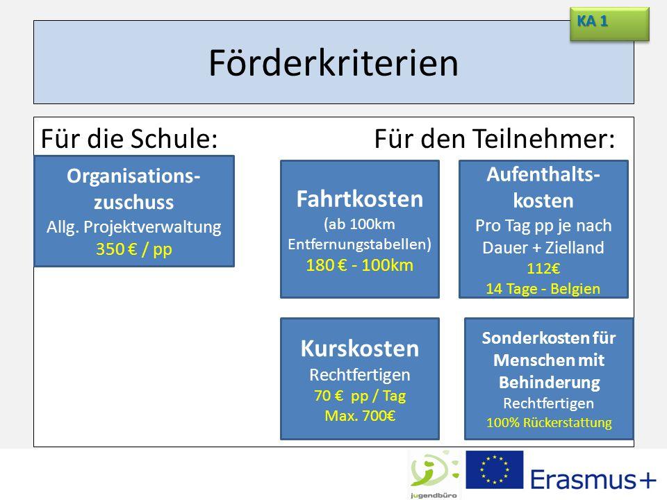 Förderkriterien Für die Schule:Für den Teilnehmer: KA 1 Organisations- zuschuss Allg. Projektverwaltung 350 / pp Fahrtkosten (ab 100km Entfernungstabe