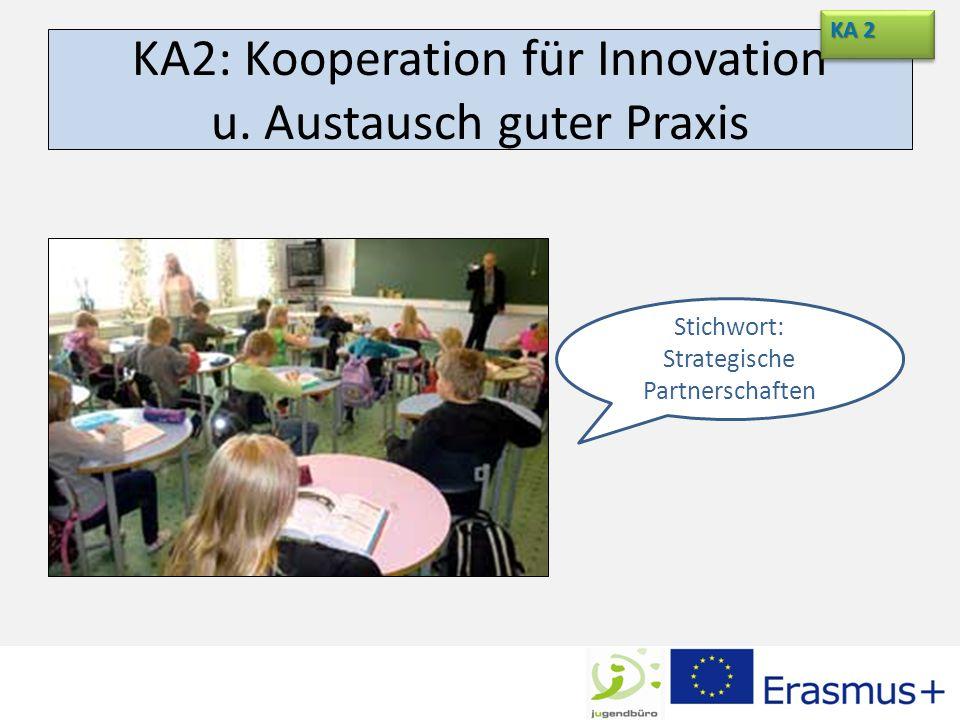 KA2: Kooperation für Innovation u. Austausch guter Praxis KA 2 Stichwort: Strategische Partnerschaften