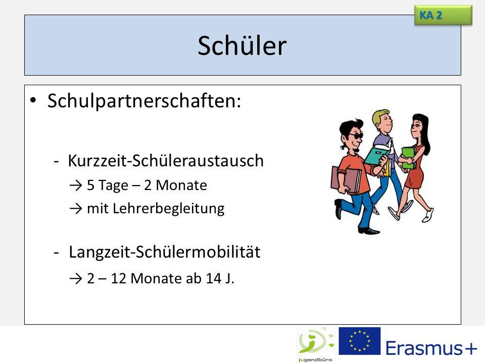 Schüler Schulpartnerschaften: - Kurzzeit-Schüleraustausch 5 Tage – 2 Monate mit Lehrerbegleitung -Langzeit-Schülermobilität 2 – 12 Monate ab 14 J. KA