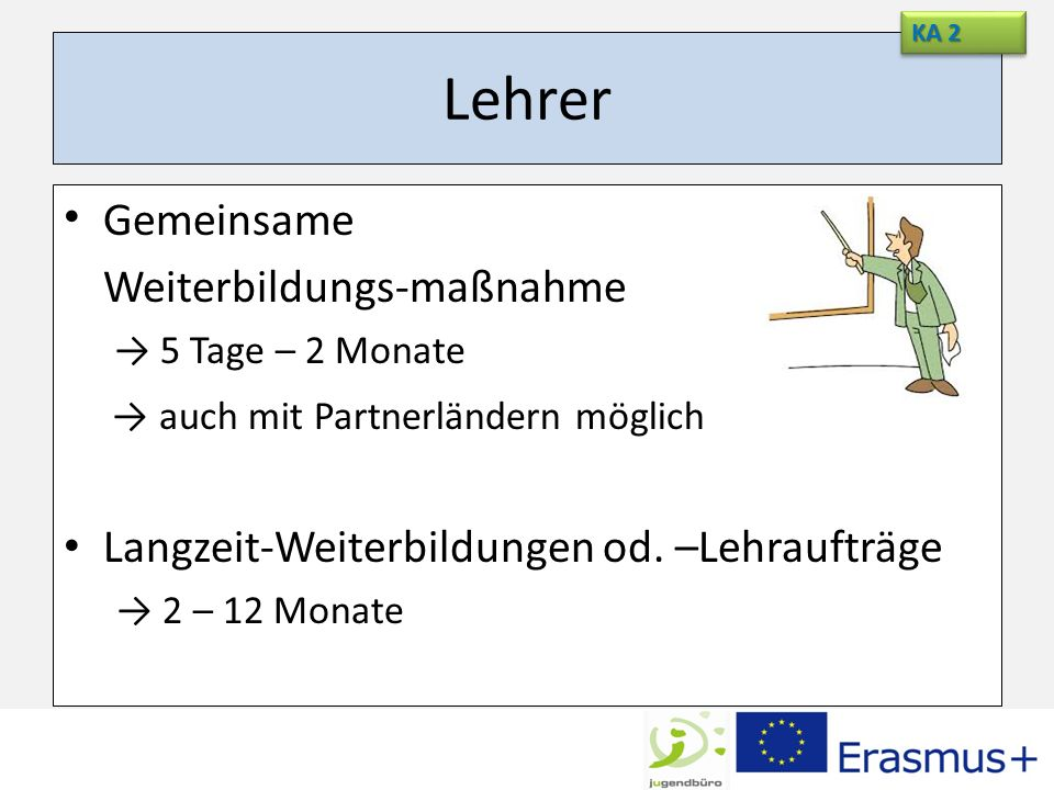 Lehrer Gemeinsame Weiterbildungs-maßnahme 5 Tage – 2 Monate auch mit Partnerländern möglich Langzeit-Weiterbildungen od. –Lehraufträge 2 – 12 Monate K