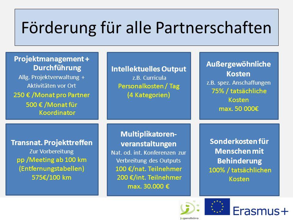 Förderung für alle Partnerschaften Projektmanagement + Durchführung Allg. Projektverwaltung + Aktivitäten vor Ort 250 /Monat pro Partner 500 /Monat fü