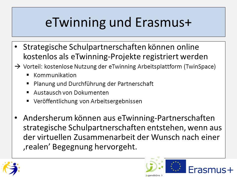 eTwinning und Erasmus+ Strategische Schulpartnerschaften können online kostenlos als eTwinning-Projekte registriert werden Vorteil: kostenlose Nutzung der eTwinning Arbeitsplattform (TwinSpace) Kommunikation Planung und Durchführung der Partnerschaft Austausch von Dokumenten Veröffentlichung von Arbeitsergebnissen Andersherum können aus eTwinning-Partnerschaften strategische Schulpartnerschaften entstehen, wenn aus der virtuellen Zusammenarbeit der Wunsch nach einer realen Begegnung hervorgeht.