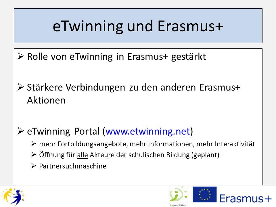 eTwinning und Erasmus+ Rolle von eTwinning in Erasmus+ gestärkt Stärkere Verbindungen zu den anderen Erasmus+ Aktionen eTwinning Portal (www.etwinning