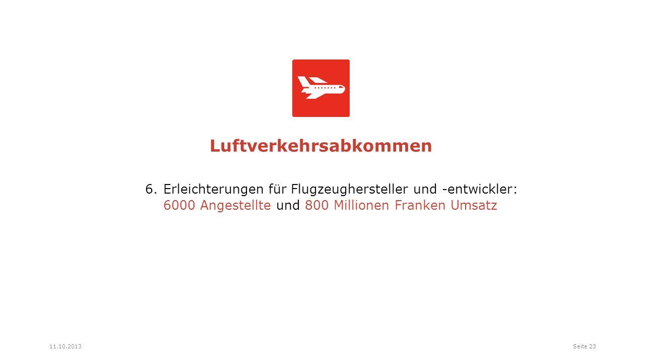 6.Erleichterungen für Flugzeughersteller und -entwickler: 6000 Angestellte und 800 Millionen Franken Umsatz Luftverkehrsabkommen Seite 2311.10.2013