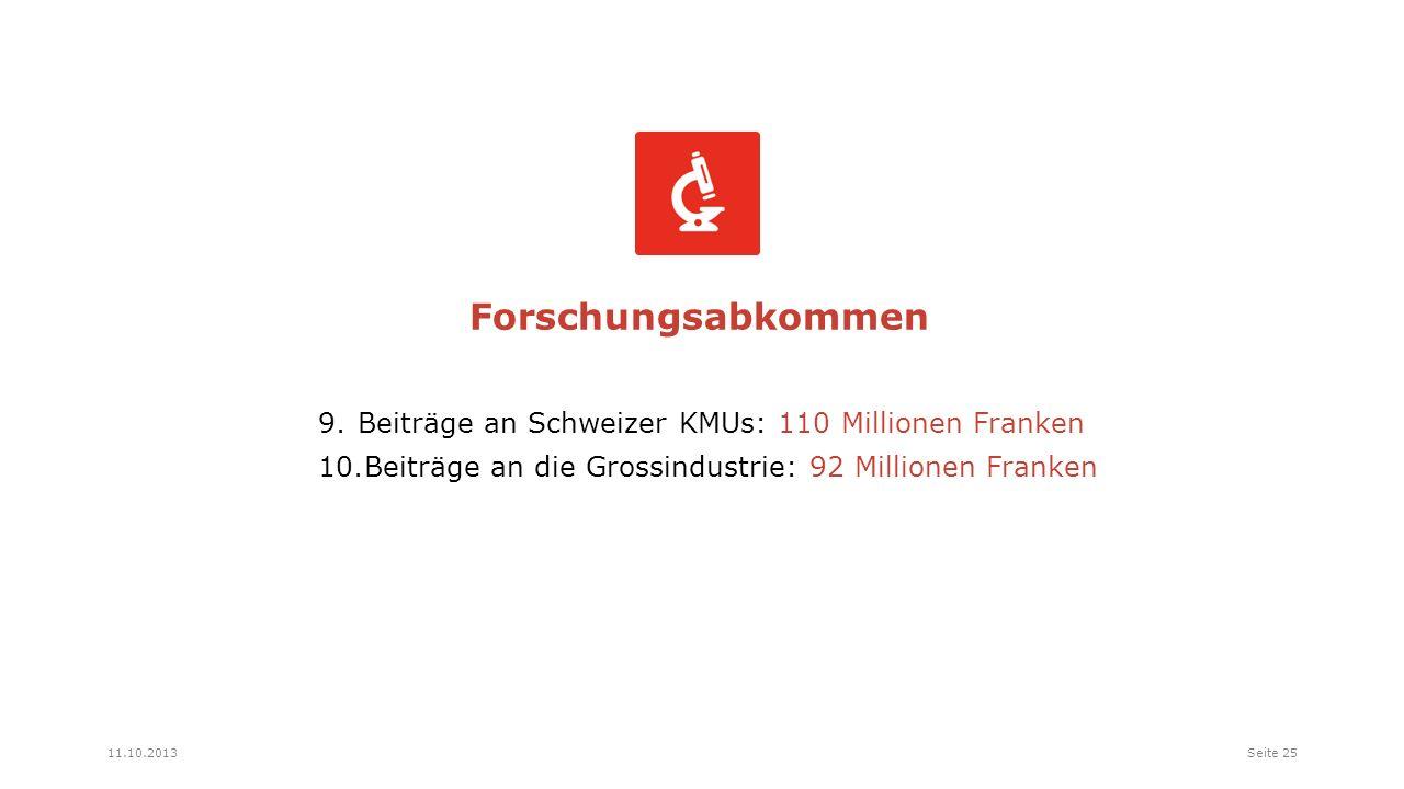 9.Beiträge an Schweizer KMUs: 110 Millionen Franken 10.Beiträge an die Grossindustrie: 92 Millionen Franken Forschungsabkommen Seite 2511.10.2013