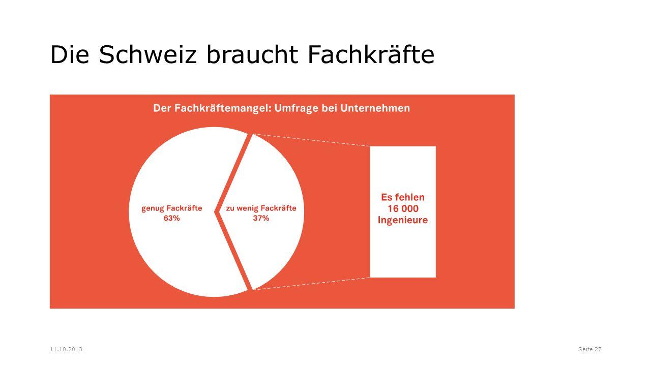 Die Schweiz braucht Fachkräfte Seite 2711.10.2013