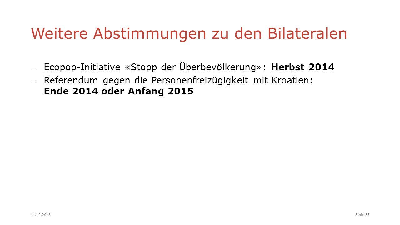 Weitere Abstimmungen zu den Bilateralen Ecopop-Initiative «Stopp der Überbevölkerung»: Herbst 2014 Referendum gegen die Personenfreizügigkeit mit Kroatien: Ende 2014 oder Anfang 2015 Seite 3511.10.2013