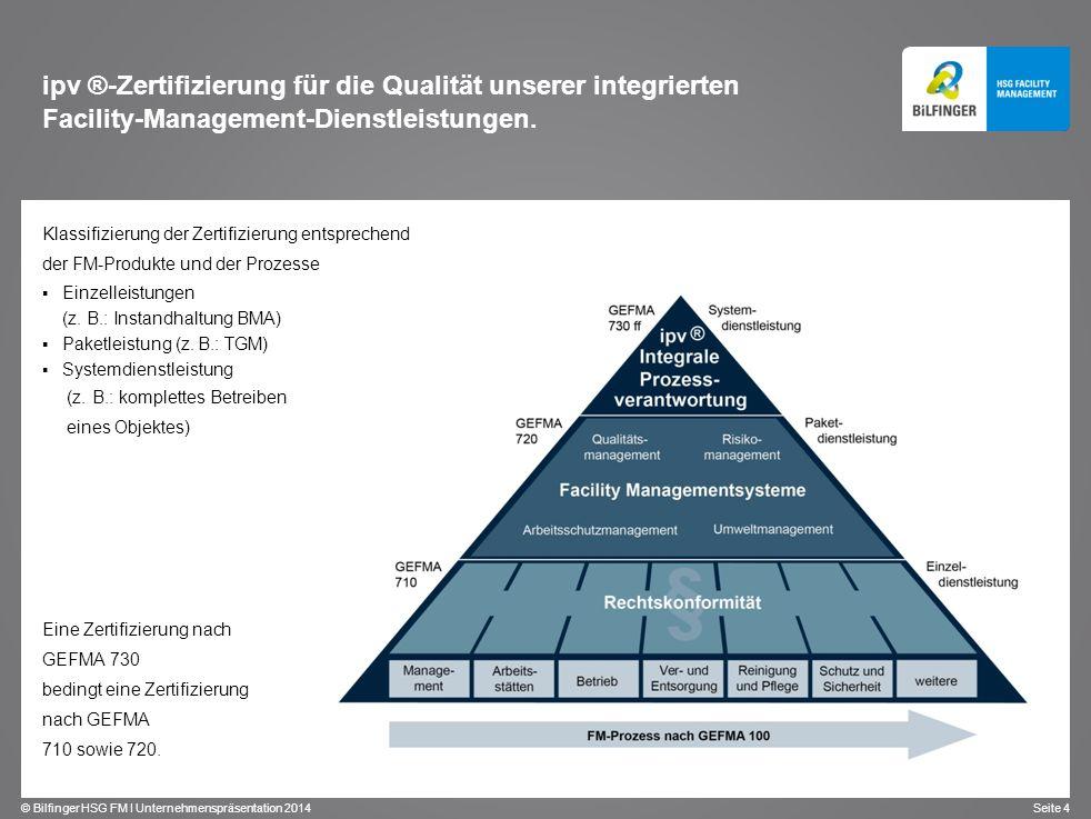 © Bilfinger HSG FM I Unternehmenspräsentation 2014 Seite 4 Klassifizierung der Zertifizierung entsprechend der FM-Produkte und der Prozesse Einzelleis