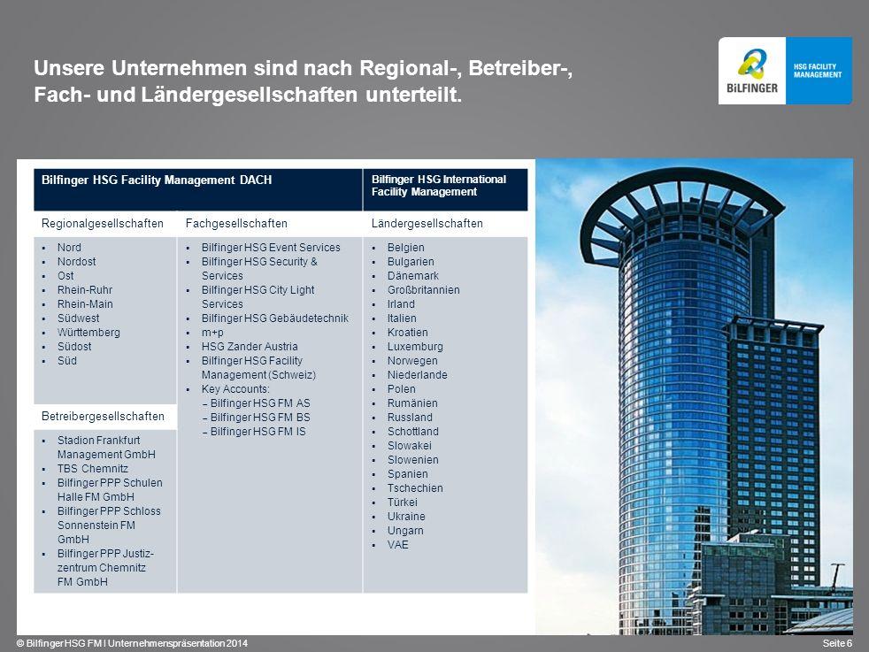 © Bilfinger HSG FM I Unternehmenspräsentation 2014 Seite 6 Unsere Unternehmen sind nach Regional-, Betreiber-, Fach- und Ländergesellschaften untertei