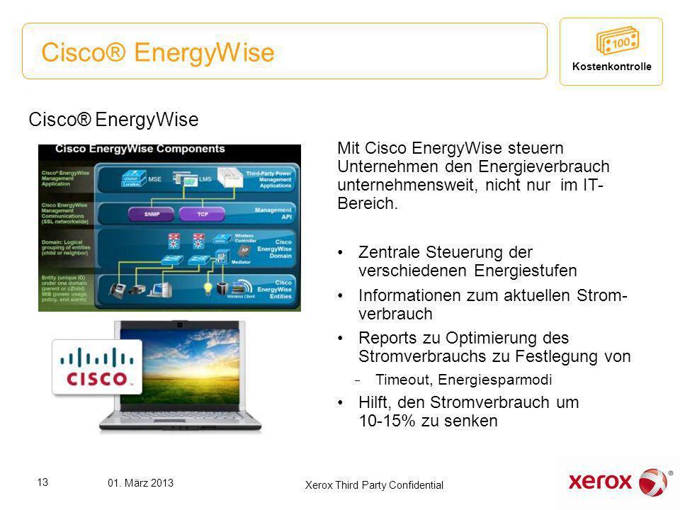 Cisco® EnergyWise Mit Cisco EnergyWise steuern Unternehmen den Energieverbrauch unternehmensweit, nicht nur im IT- Bereich. Zentrale Steuerung der ver