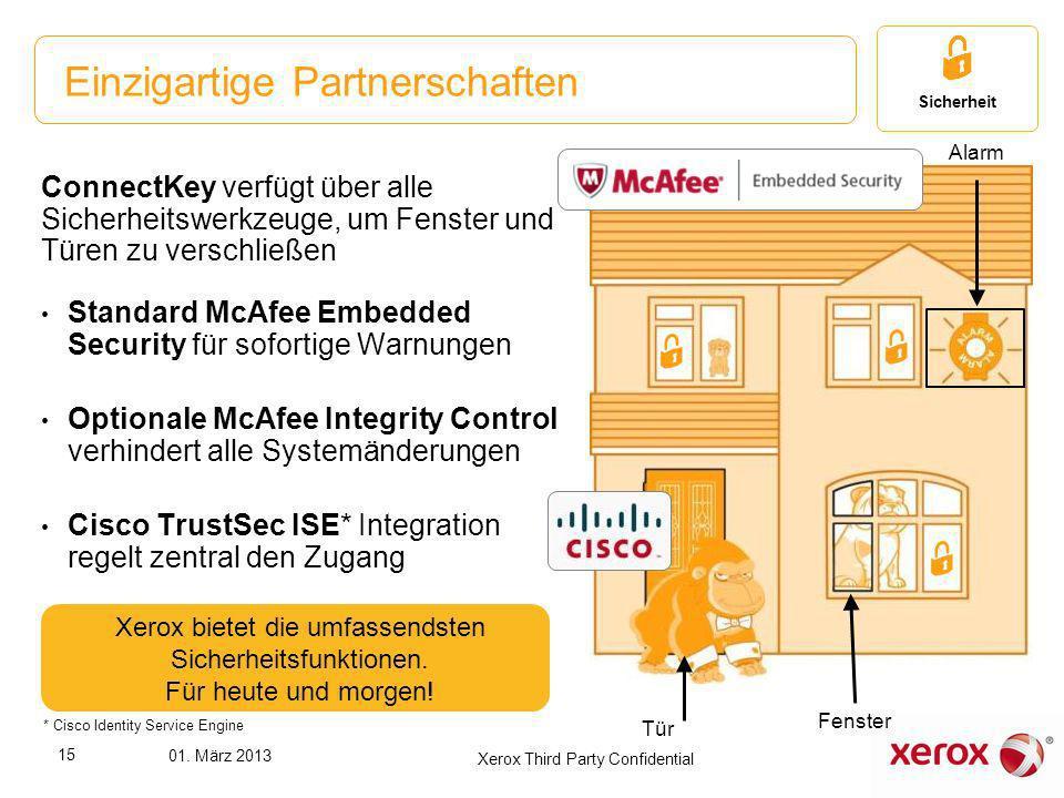 ConnectKey verfügt über alle Sicherheitswerkzeuge, um Fenster und Türen zu verschließen Standard McAfee Embedded Security für sofortige Warnungen Opti