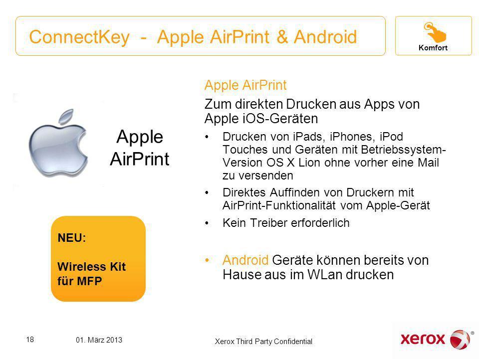 ConnectKey - Apple AirPrint & Android Apple AirPrint Zum direkten Drucken aus Apps von Apple iOS-Geräten Drucken von iPads, iPhones, iPod Touches und