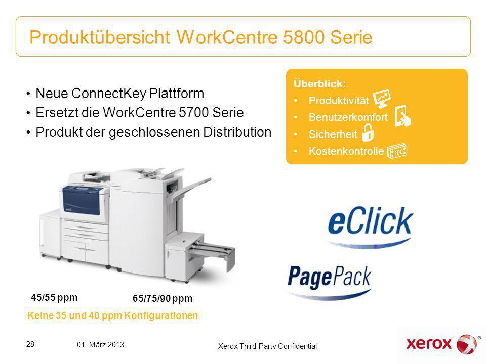 Produktübersicht WorkCentre 5800 Serie Überblick: Produktivität Benutzerkomfort Sicherheit Kostenkontrolle Neue ConnectKey Plattform Ersetzt die WorkC