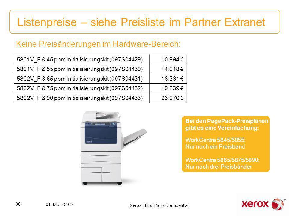 Listenpreise – siehe Preisliste im Partner Extranet Keine Preisänderungen im Hardware-Bereich: 5801V_F & 45 ppm Initialisierungskit (097S04429)10.994