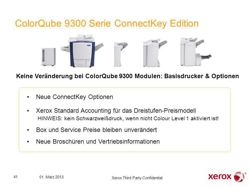 ColorQube 9300 Serie ConnectKey Edition Neue ConnectKey Optionen Xerox Standard Accounting für das Dreistufen-Preismodell HINWEIS: kein Schwarzweißdru