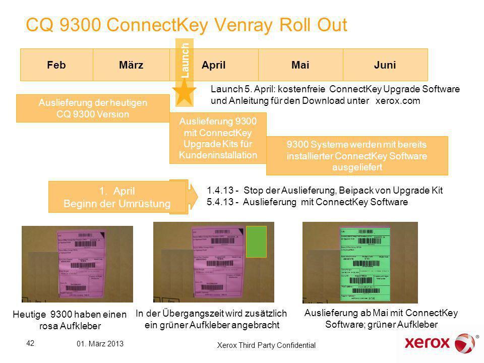 Feb CQ 9300 ConnectKey Venray Roll Out MärzAprilMaiJuni 9300 Systeme werden mit bereits installierter ConnectKey Software ausgeliefert Auslieferung 93