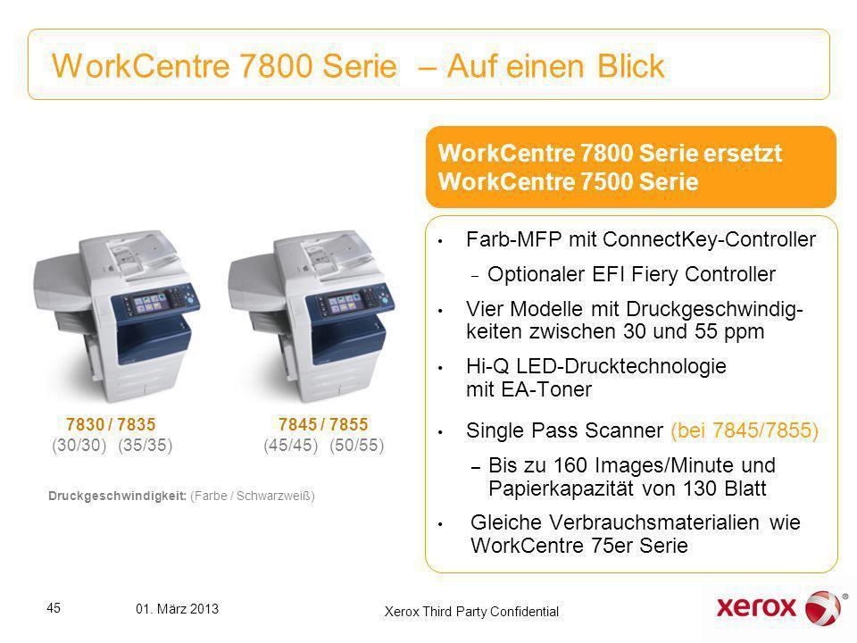 WorkCentre 7800 Serie – Auf einen Blick 7830 / 7835 (30/30) (35/35) 7845 / 7855 (45/45) (50/55) Druckgeschwindigkeit: (Farbe / Schwarzweiß) Farb-MFP m