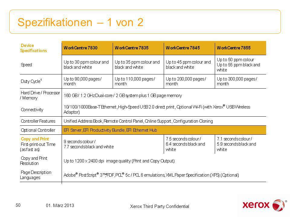Spezifikationen – 1 von 2 50 01. März 2013 Xerox Third Party Confidential