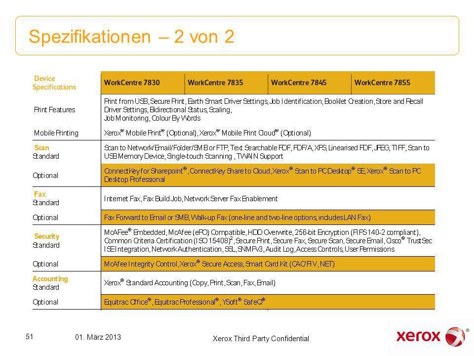 Spezifikationen – 2 von 2 51 01. März 2013 Xerox Third Party Confidential