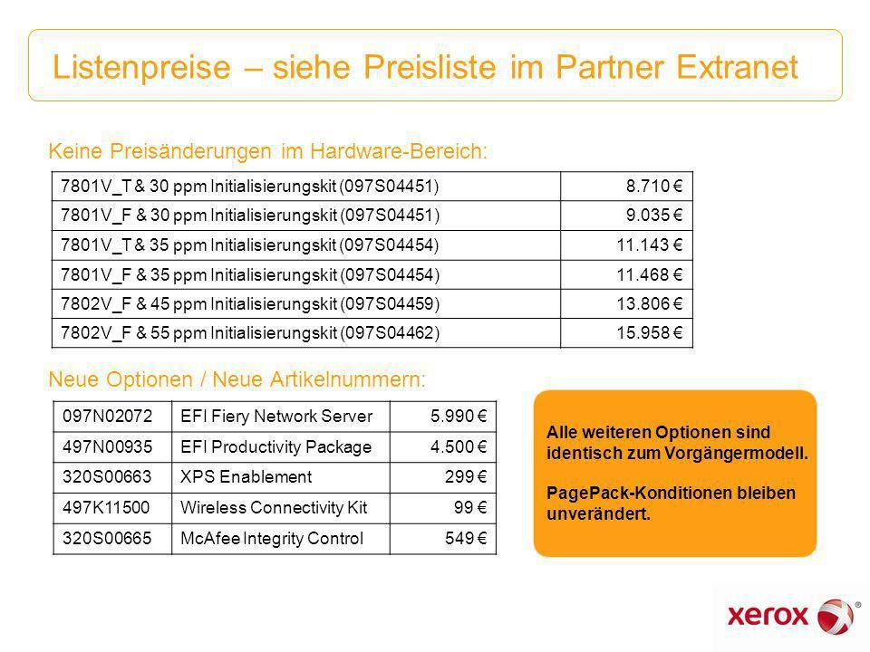 Listenpreise – siehe Preisliste im Partner Extranet Keine Preisänderungen im Hardware-Bereich: Neue Optionen / Neue Artikelnummern: 7801V_T & 30 ppm I