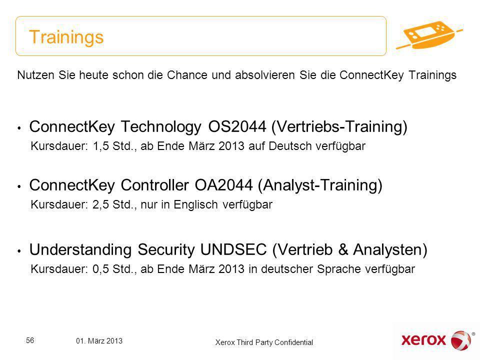Nutzen Sie heute schon die Chance und absolvieren Sie die ConnectKey Trainings ConnectKey Technology OS2044 (Vertriebs-Training) Kursdauer: 1,5 Std.,
