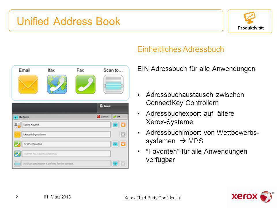Unified Address Book Einheitliches Adressbuch EIN Adressbuch für alle Anwendungen Adressbuchaustausch zwischen ConnectKey Controllern Adressbuchexport