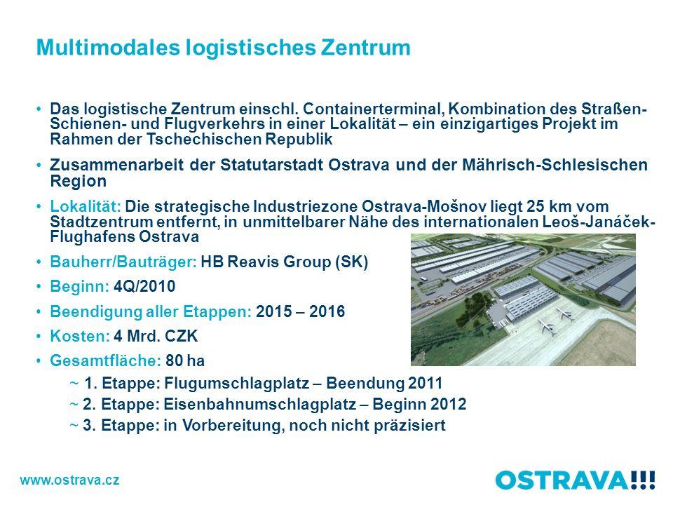 Multimodales logistisches Zentrum Das logistische Zentrum einschl. Containerterminal, Kombination des Straßen- Schienen- und Flugverkehrs in einer Lok