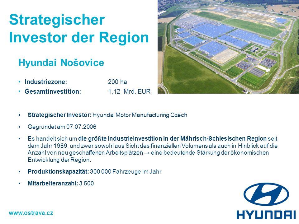 Hyundai Nošovice Industriezone:200 ha Gesamtinvestition: 1,12 Mrd. EUR 15 ha Strategischer Investor: Hyundai Motor Manufacturing Czech Gegründet am 07