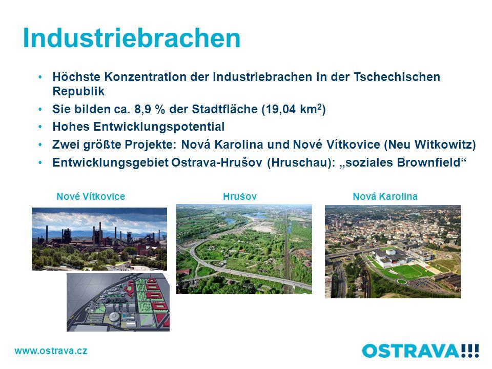 Industriebrachen Hrušov Höchste Konzentration der Industriebrachen in der Tschechischen Republik Sie bilden ca. 8,9 % der Stadtfläche (19,04 km 2 ) Ho