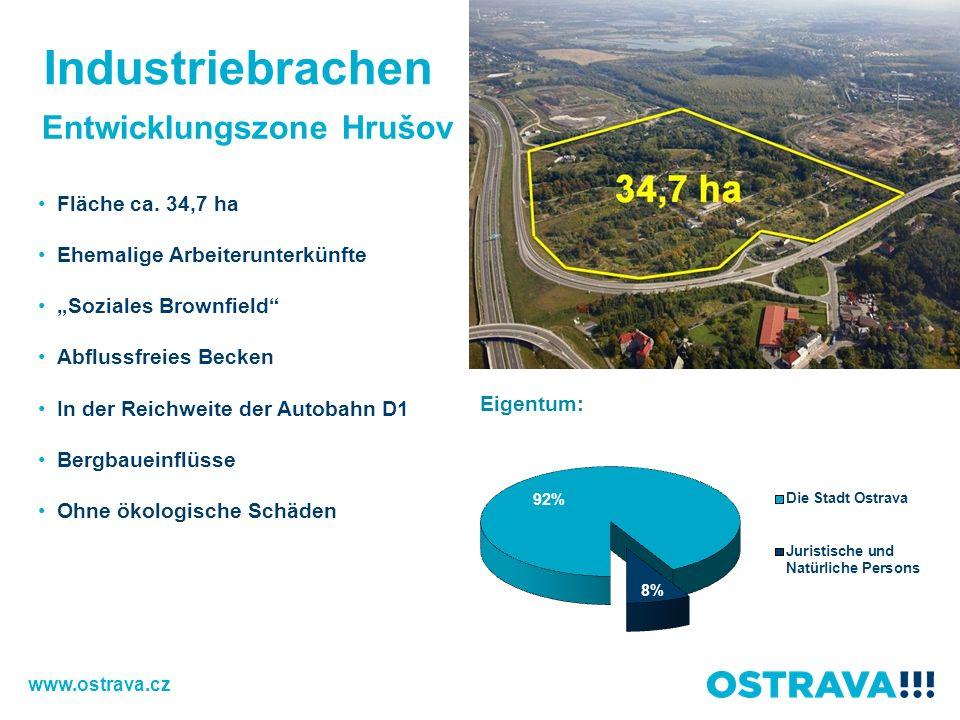 Entwicklungszone Hrušov Fläche ca. 34,7 ha Ehemalige Arbeiterunterkünfte Soziales Brownfield Abflussfreies Becken In der Reichweite der Autobahn D1 Be