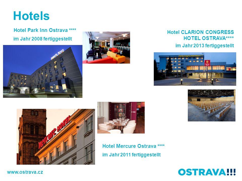 Hotels Hotel CLARION CONGRESS HOTEL OSTRAVA**** im Jahr 2013 fertiggestellt Hotel Park Inn Ostrava **** im Jahr 2008 fertiggestellt Hotel Mercure Ostrava **** im Jahr 2011 fertiggestellt www.ostrava.cz