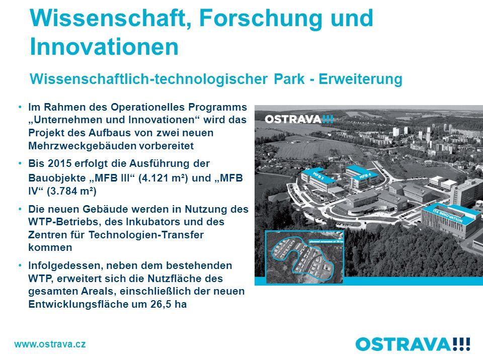 Wissenschaftlich-technologischer Park - Erweiterung Im Rahmen des Operationelles Programms Unternehmen und Innovationen wird das Projekt des Aufbaus von zwei neuen Mehrzweckgebäuden vorbereitet Bis 2015 erfolgt die Ausführung der Bauobjekte MFB III (4.121 m²) und MFB IV (3.784 m²) Die neuen Gebäude werden in Nutzung des WTP-Betriebs, des Inkubators und des Zentren für Technologien-Transfer kommen Infolgedessen, neben dem bestehenden WTP, erweitert sich die Nutzfläche des gesamten Areals, einschließlich der neuen Entwicklungsfläche um 26,5 ha Wissenschaft, Forschung und Innovationen www.ostrava.cz