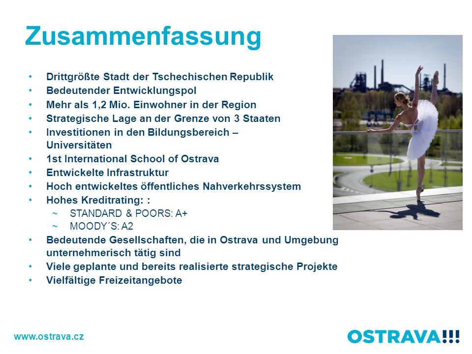 Zusammenfassung Drittgrößte Stadt der Tschechischen Republik Bedeutender Entwicklungspol Mehr als 1,2 Mio. Einwohner in der Region Strategische Lage a